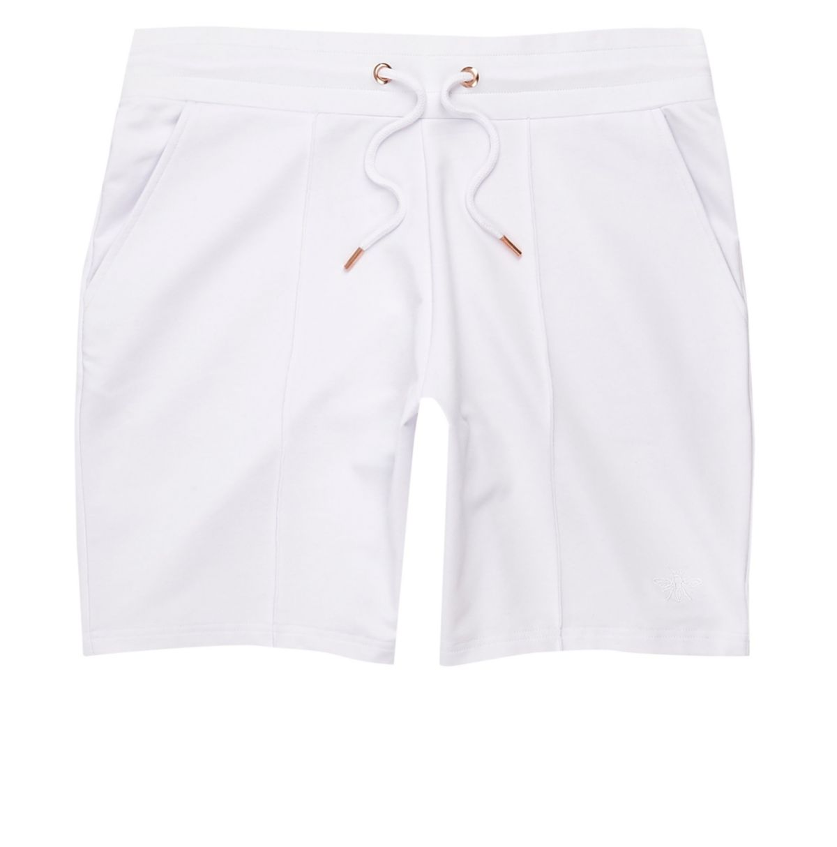 pintuck slim embroidered White shorts wasp ASHWaHd
