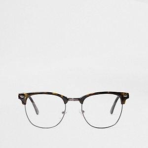 Bruine bril met schildpadmotief en doorzichtige glazen
