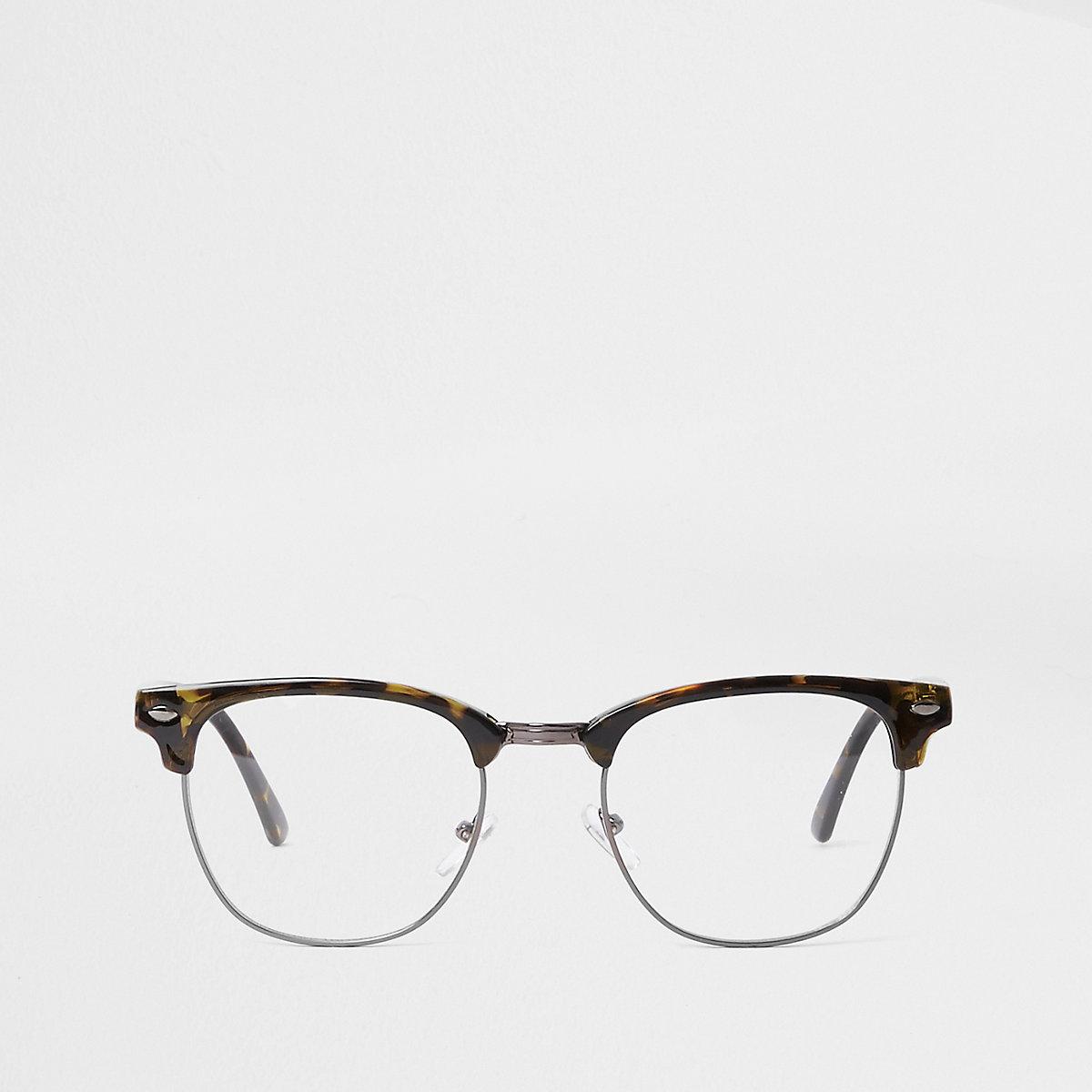 Brown tortoiseshell clear lens glasses