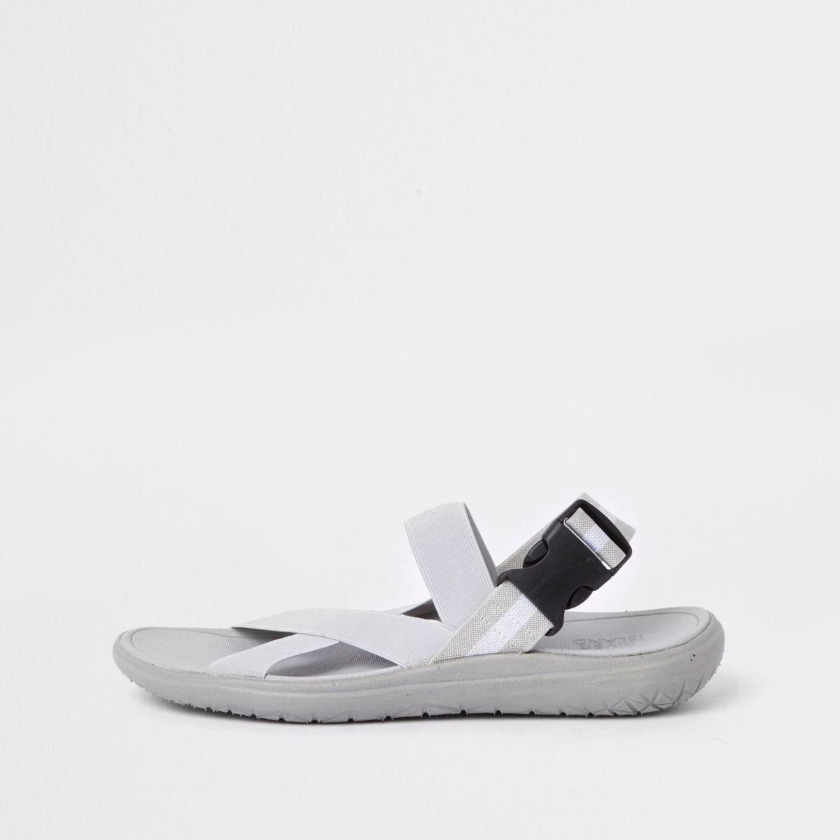 Grey elastic sandals