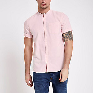 Mens Pink linen short sleeve shirt River Island