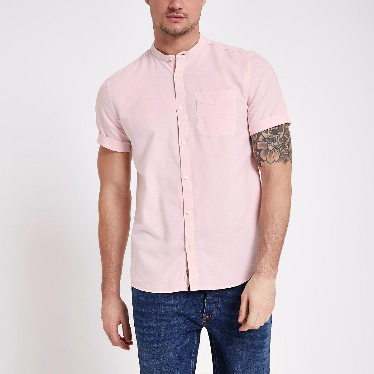 Pink acid wash grandad collar Oxford shirt