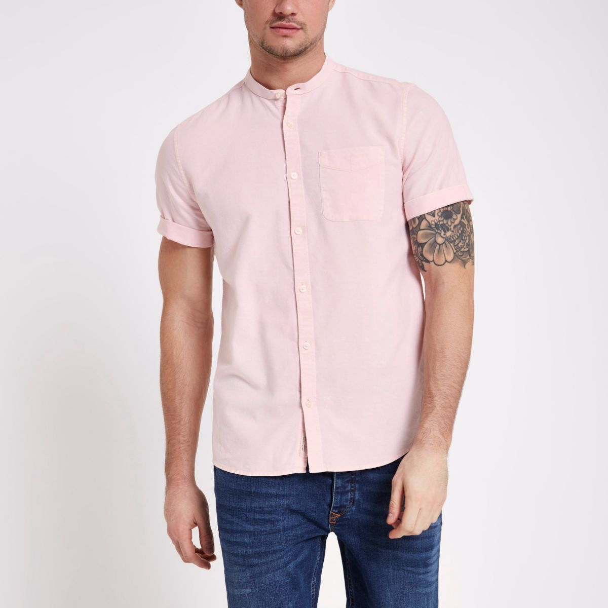 Pink acid wash grandad collar Oxford shirt