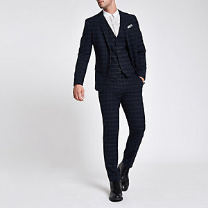 Navy grindle check skinny fit suit jacket