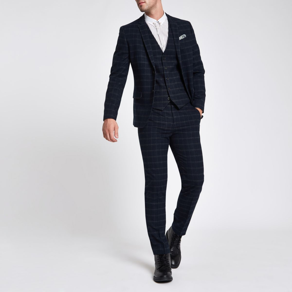 Navy window pane check skinny fit suit jacket