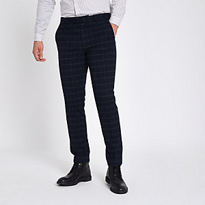 Navy grindle check skinny suit trousers