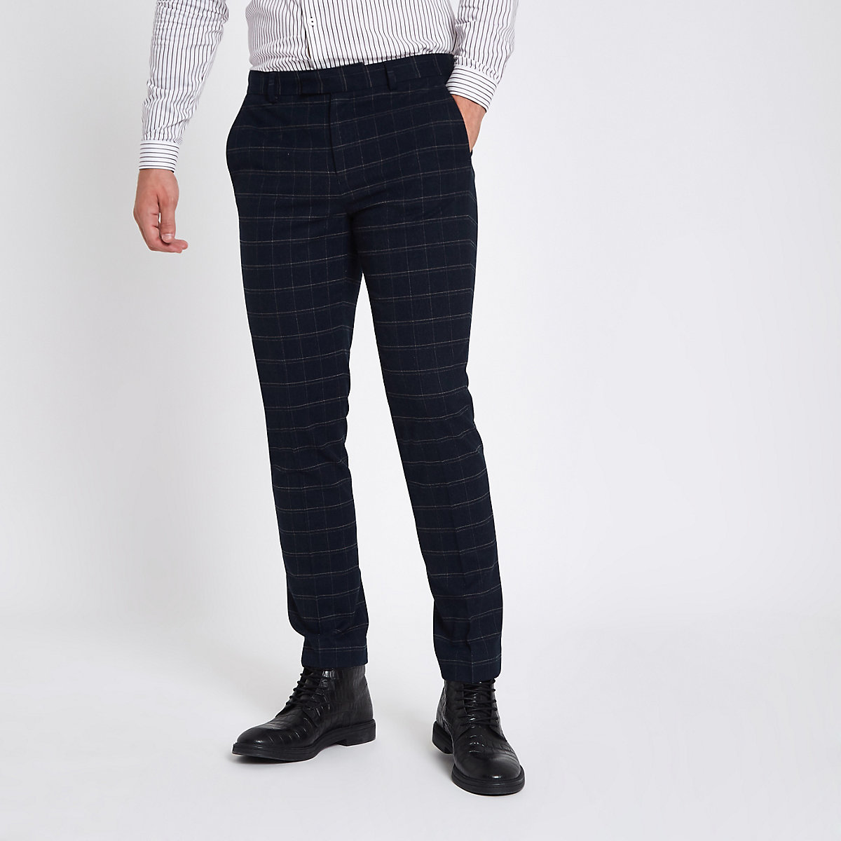 Navy window pane check skinny suit trousers