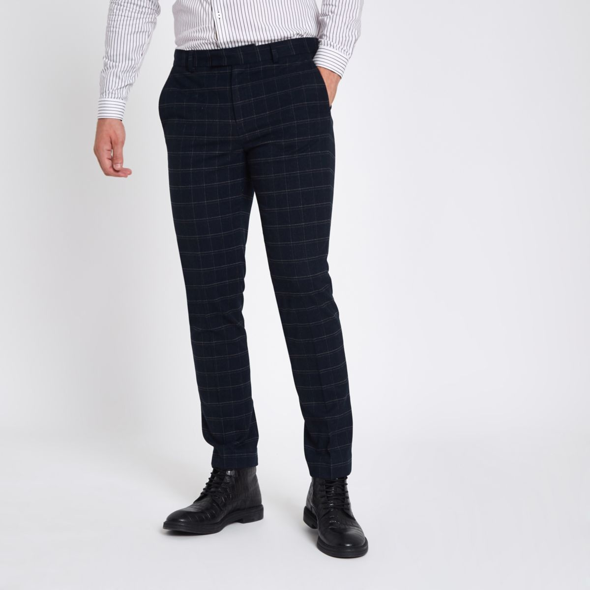 Navy window pane check skinny suit pants