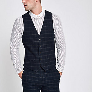 Navy window pane check slim fit waistcoat