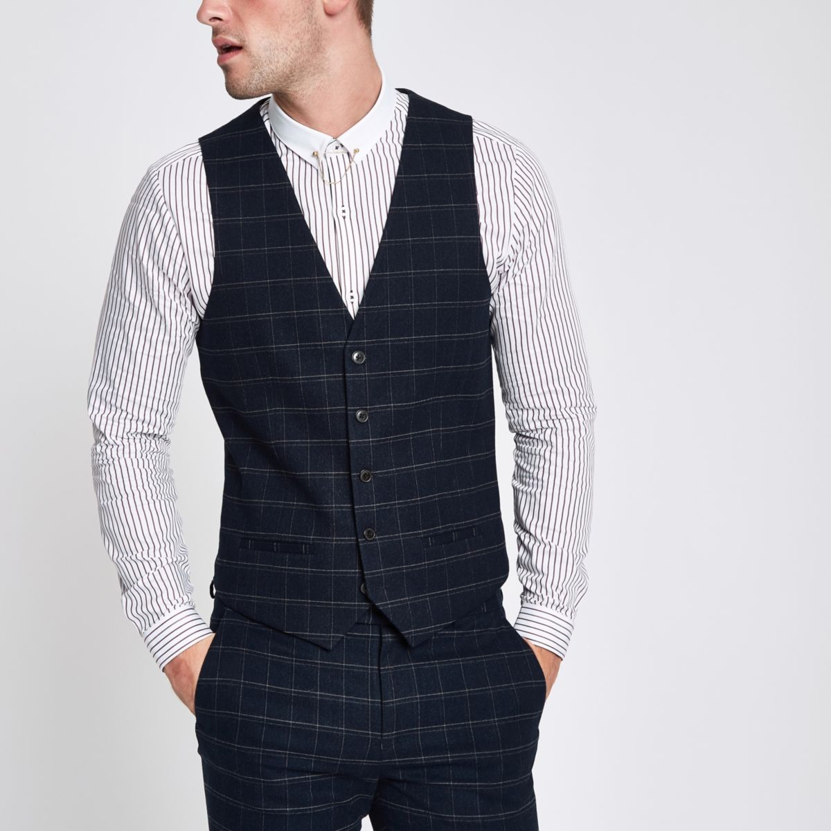 Navy window pane check slim fit vest