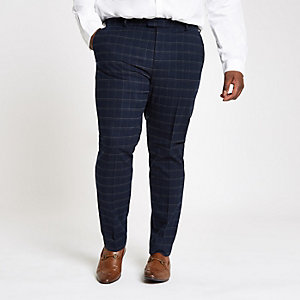 Big and Tall - Marineblauwe gemêleerde pantalon met ruit