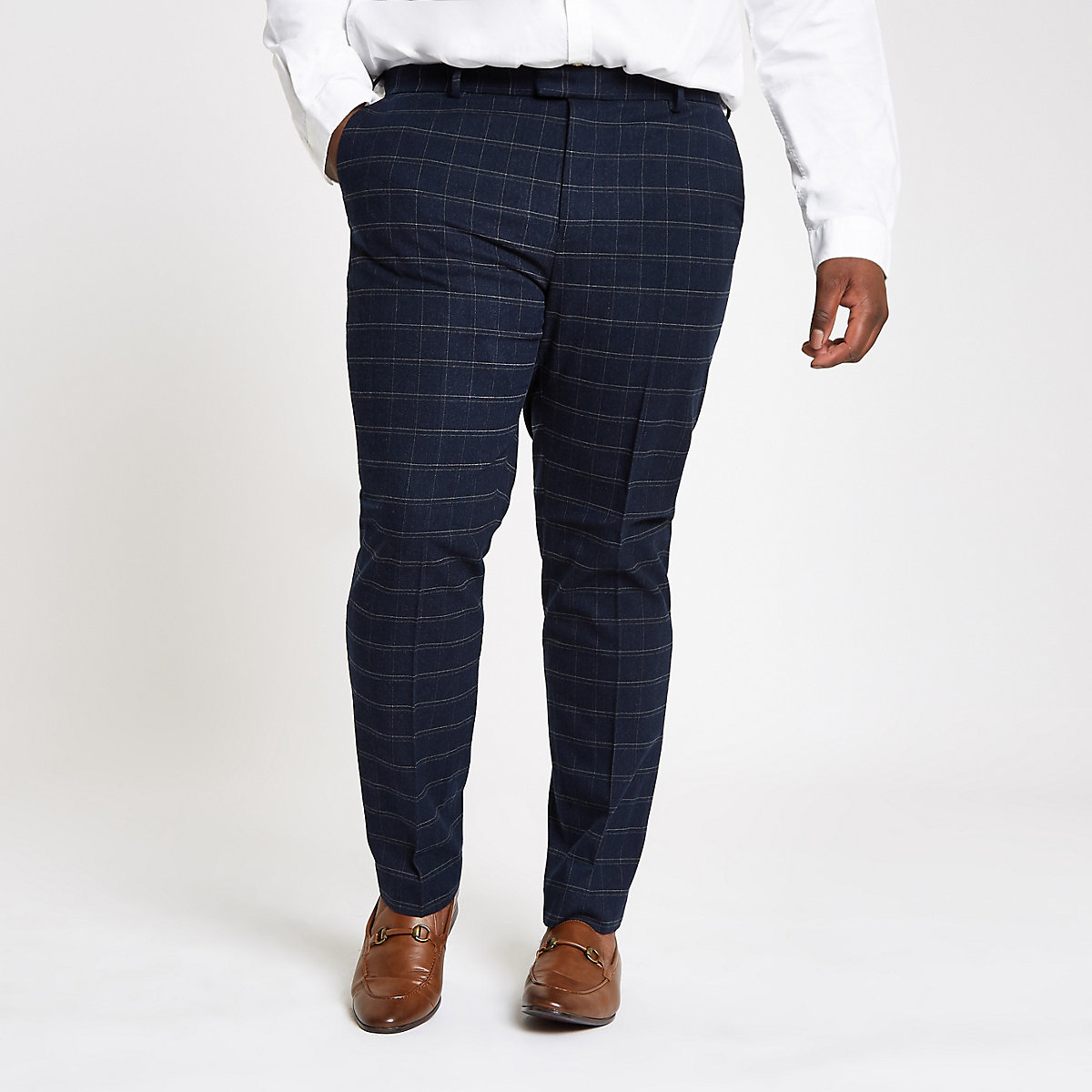Big and Tall – Pantalon de costume à carreaux bleu marine