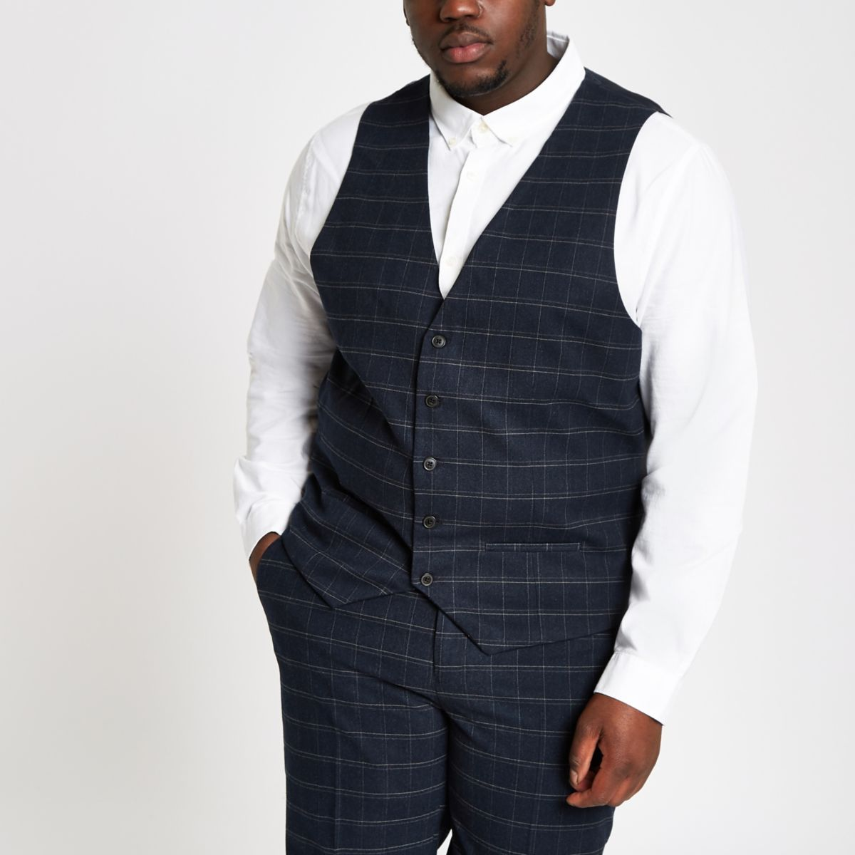 Big and Tall navy slim fit check waistcoat