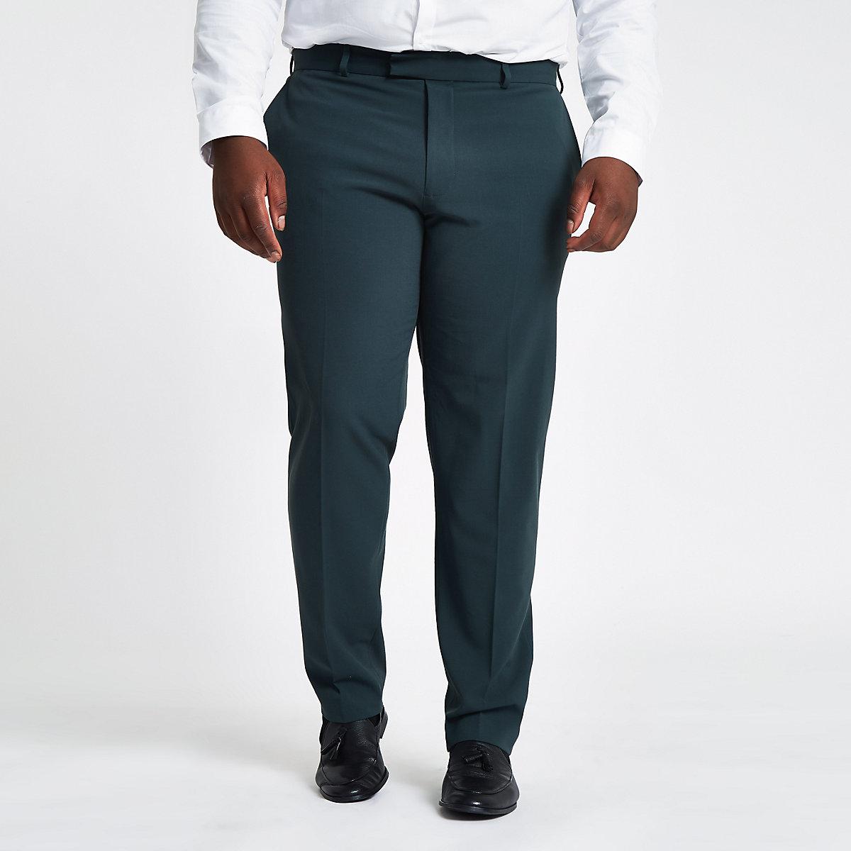 Big & Tall dark green slim fit suit trousers