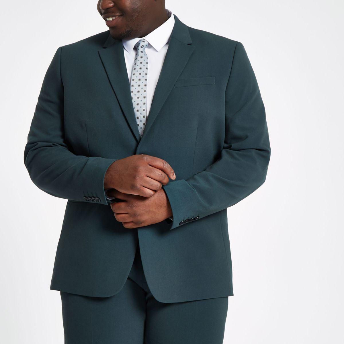 Big & Tall – Dunkelgrüne Slim Fit Anzugjacke