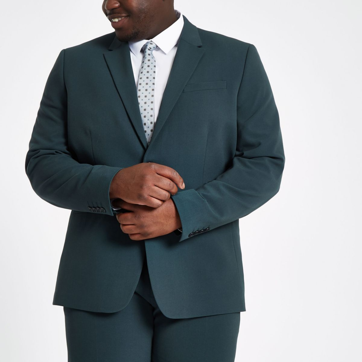 Big and Tall dark green slim fit suit jacket