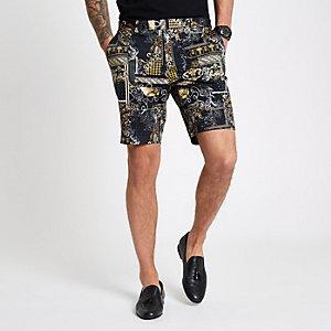 Schwarze, elegante Shorts mit Print