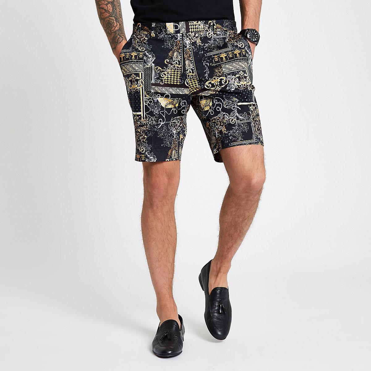 Black print smart shorts