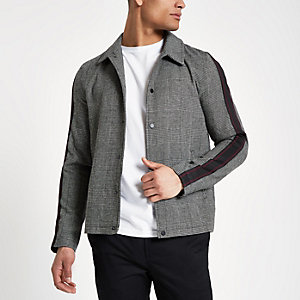 Grey tape sleeve coach jacket