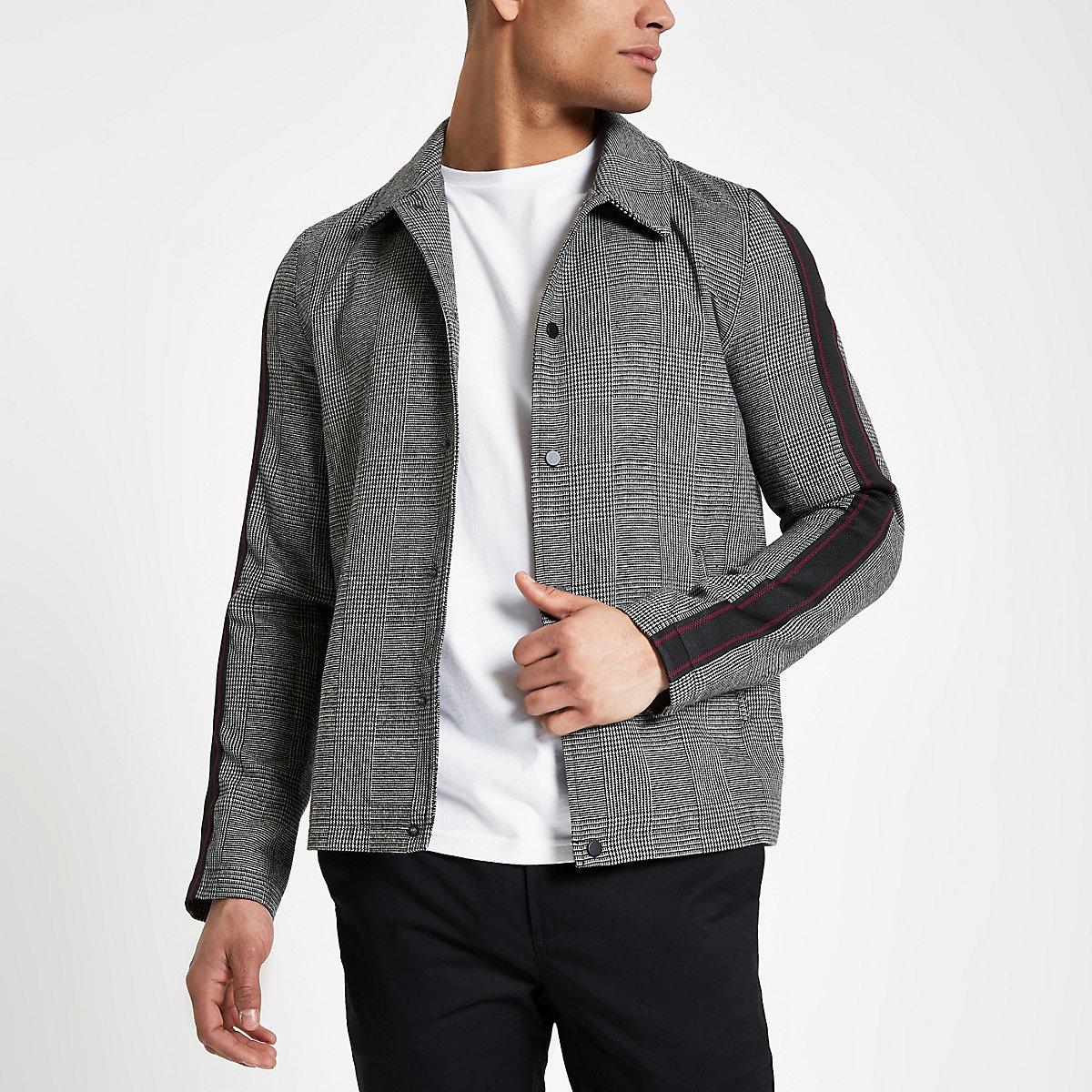 Grey tape sleeve coach jacket