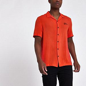 Rood geborduurd overhemd met 'palm springs'-print