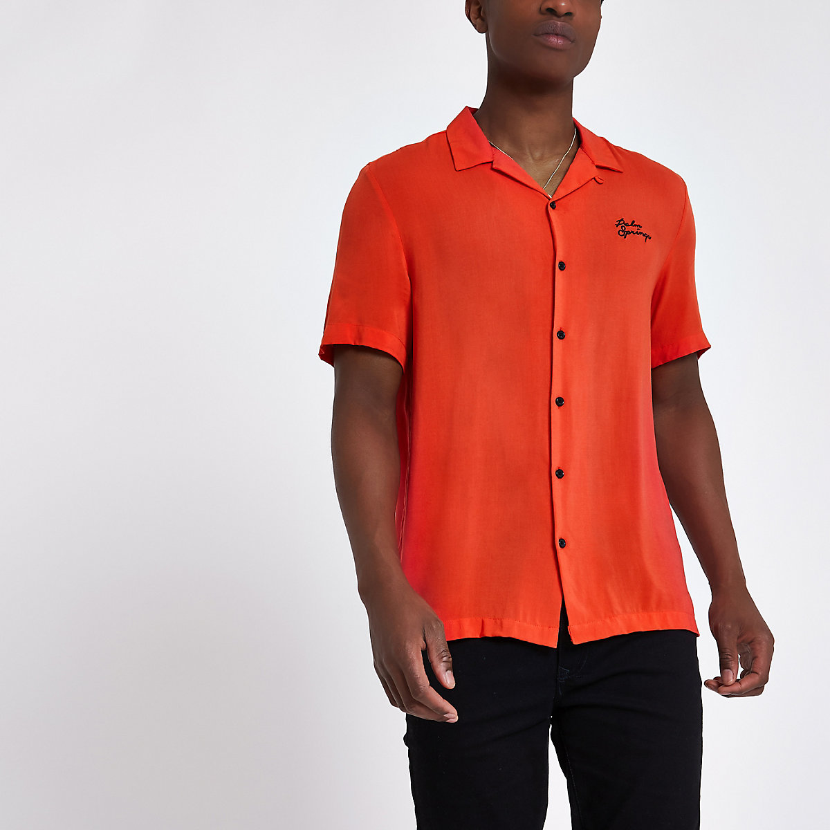 Red 'palm springs' embroidered shirt