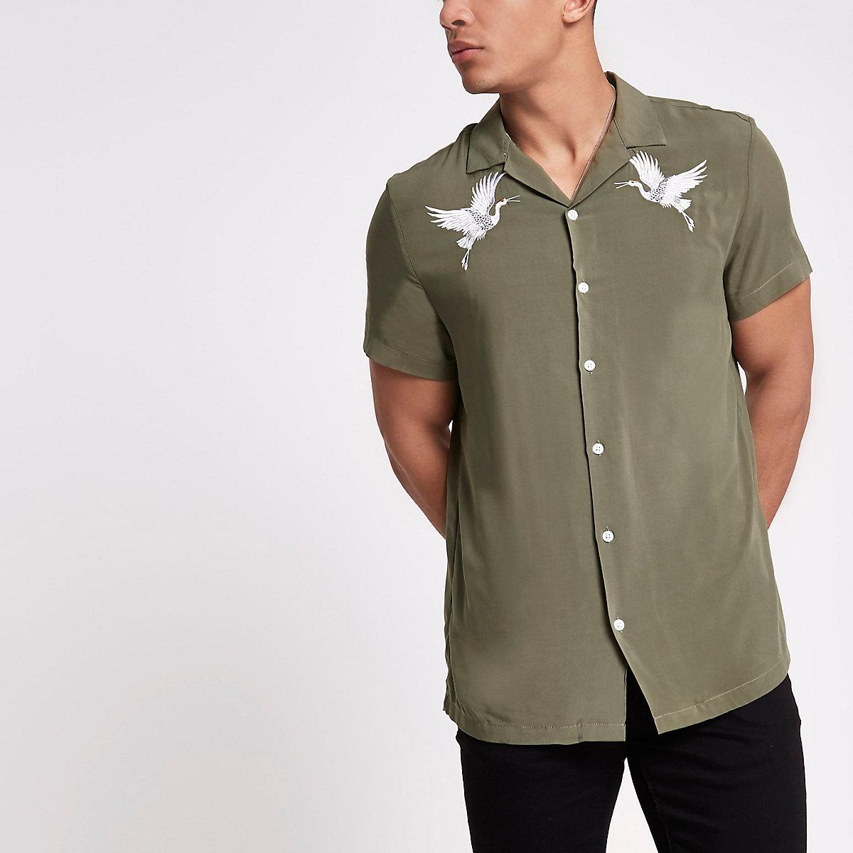 Khaki Crane Embroidered Revere Shirt Short Sleeve Shirts Shirts