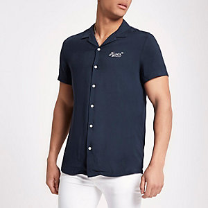 Navy embroidered revere casual shirt