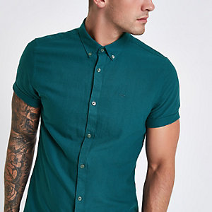 Teal green short sleeve Oxford shirt