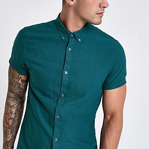 Chemise Oxford vert canard à manches courtes
