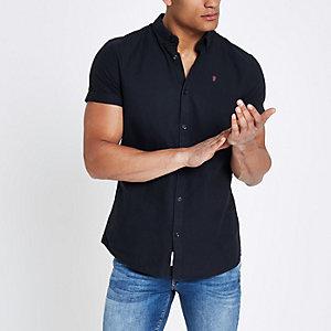 Marineblaues Oxford-Hemd mit Rosenstickerei