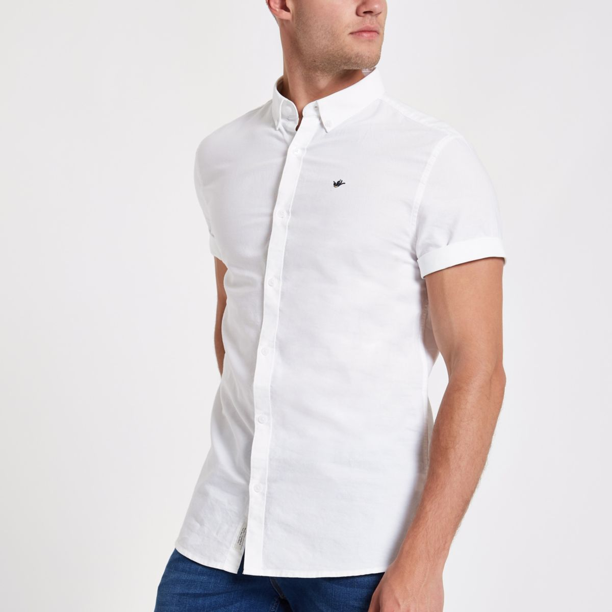 White swallow embroidered Oxford shirt