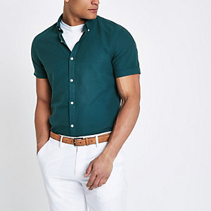 Teal green wasp embroidered Oxford shirt