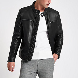 Black faux leather racer neck jacket