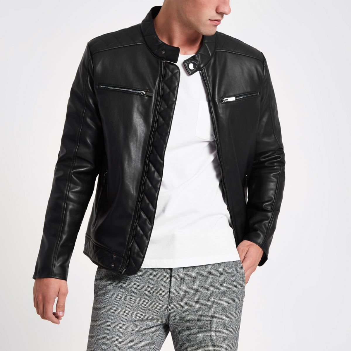Black faux leather racer neck jacket