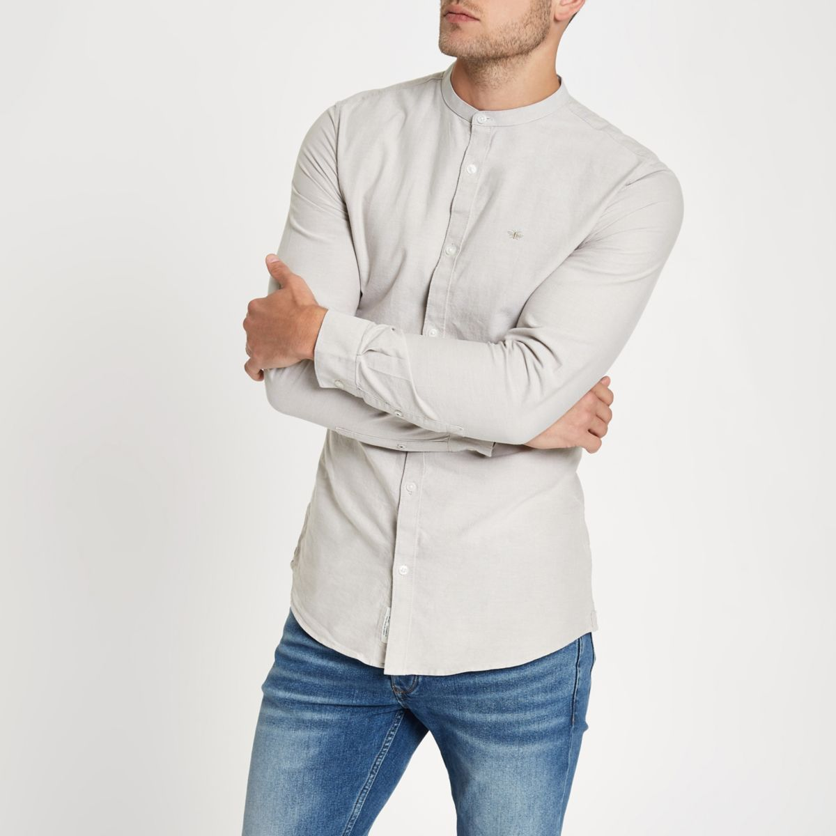 Stone wasp embroidered grandad Oxford shirt
