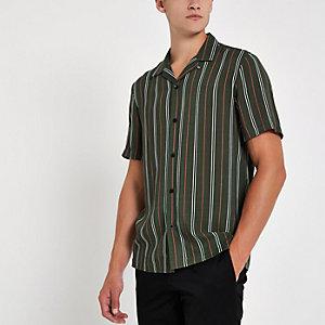 Groen gestreept overhemd met revers en korte mouwen