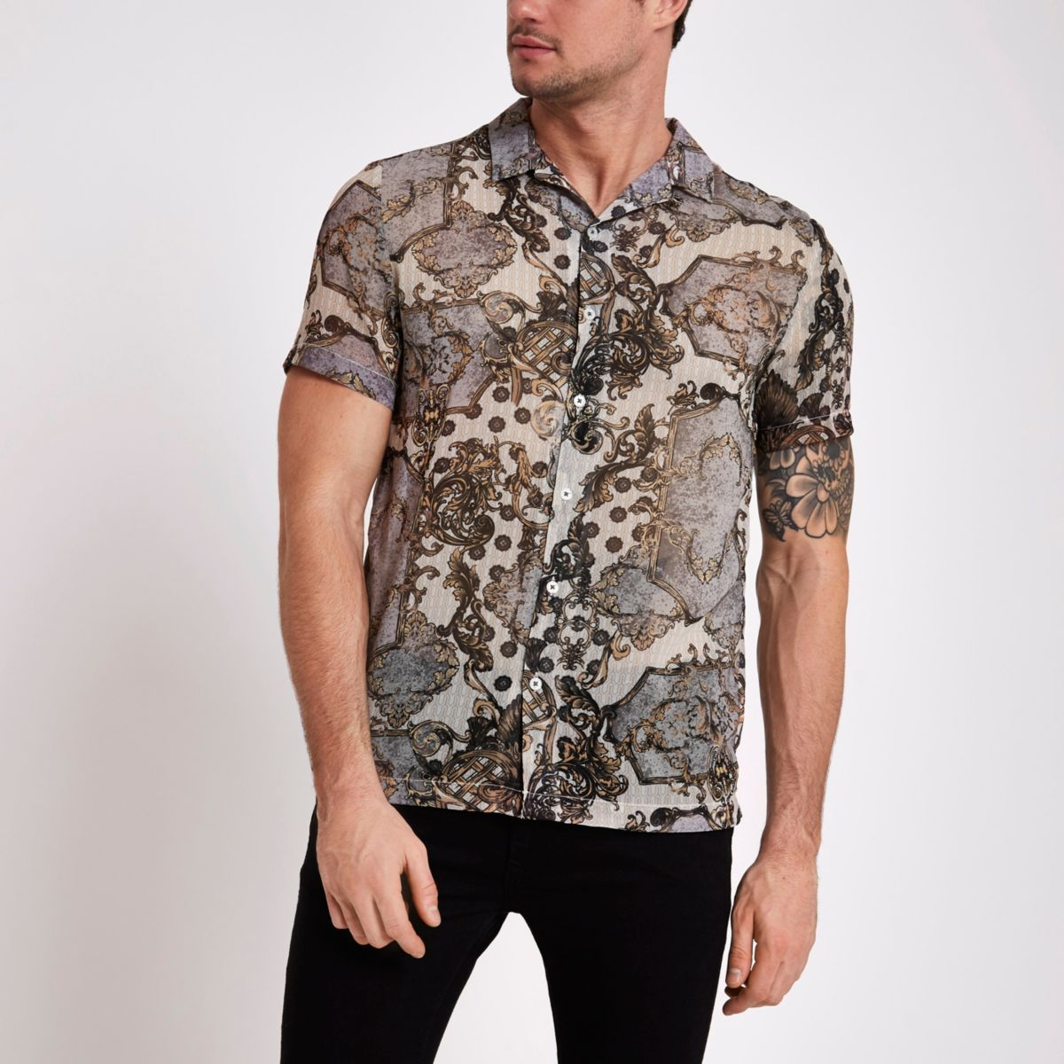 Ecru print short sleeve sheer shirt