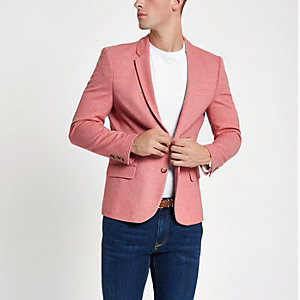 Pink muscle fit blazer
