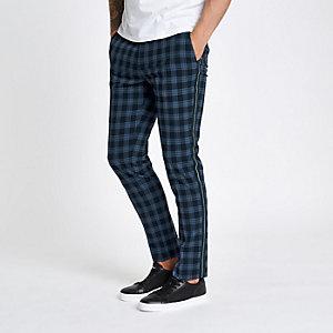 Pantalon skinny à carreaux bleu marine avec bande