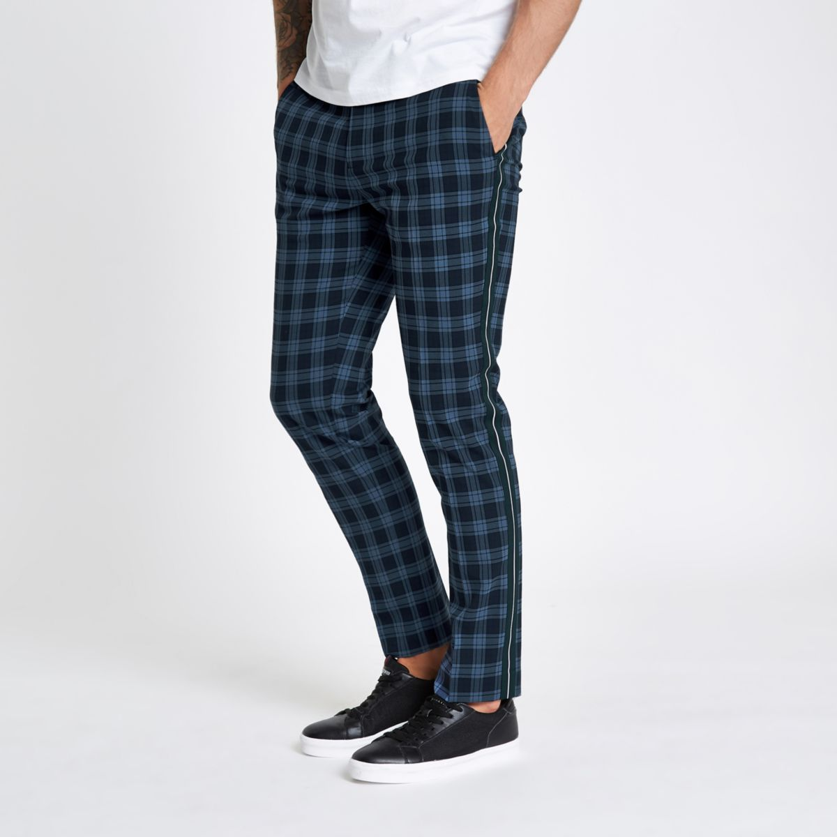 Navy check skinny fit tape trousers