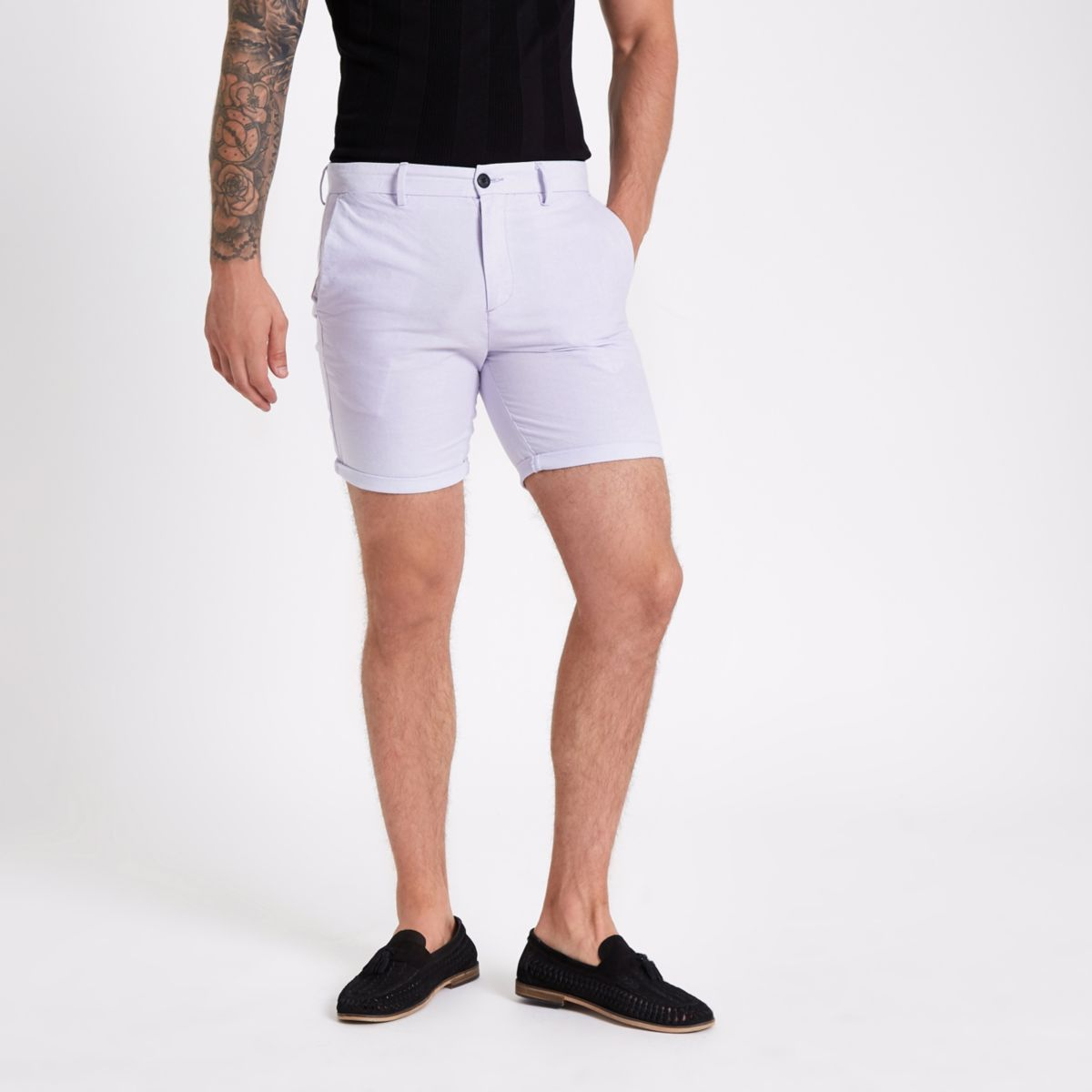 Purple slim fit Oxford chino shorts