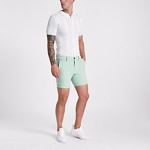 Green slim fit Oxford chino shorts
