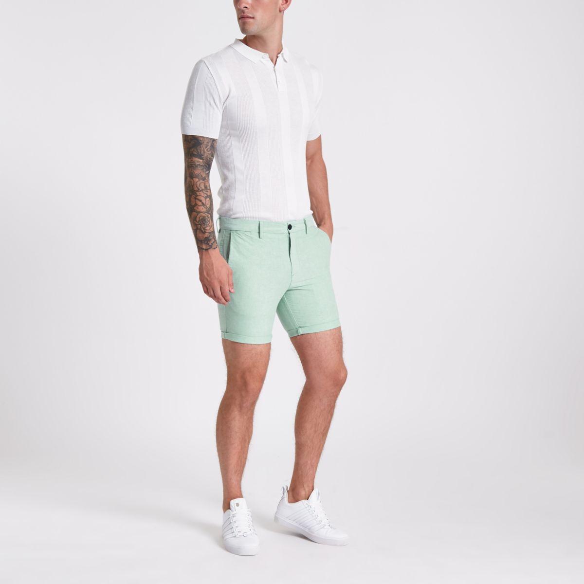 Green slim fit Oxford chino shorts