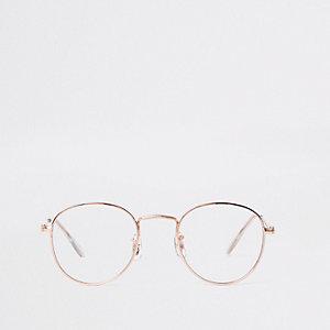 Goudkleurige zonnebril met ronde doorzichtige glazen