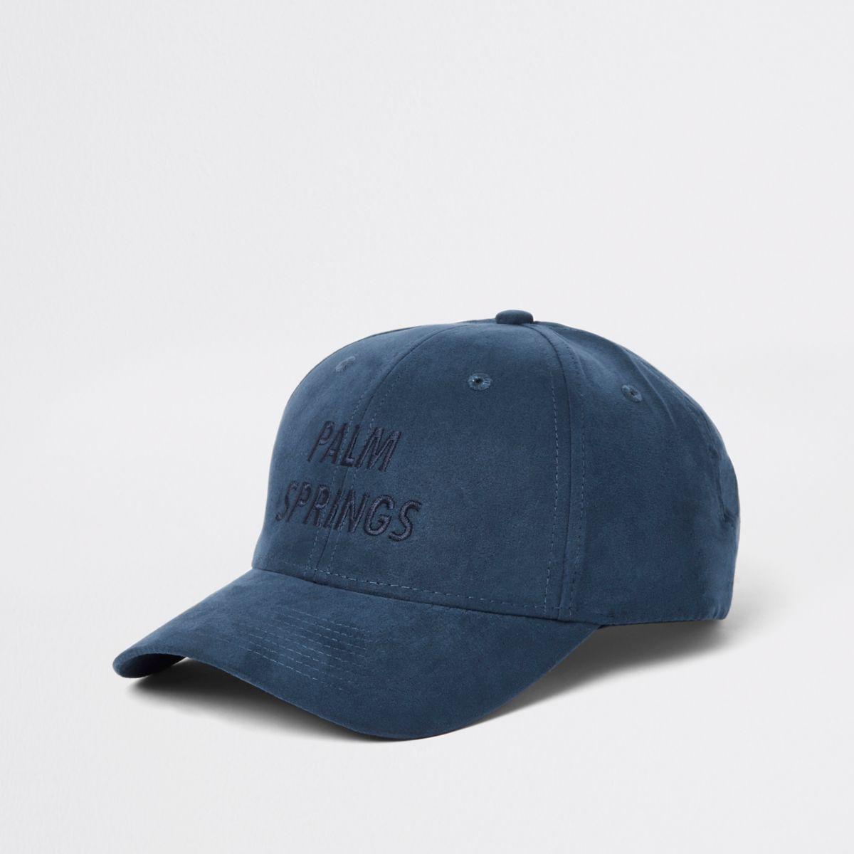Casquette de baseball bleue avec inscription « palm springs » brodée