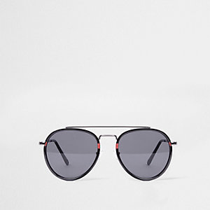Black smoke lens oval red aviator sunglasses