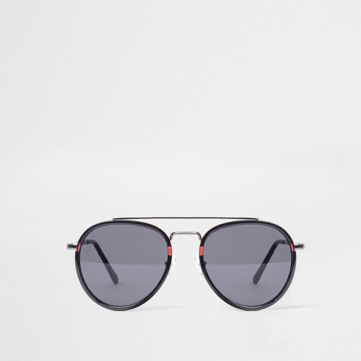 Black smoke lens oval red aviator sunglasses