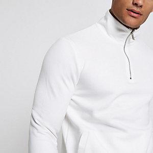 Weißes Sweatshirt mit Tunnelkragen