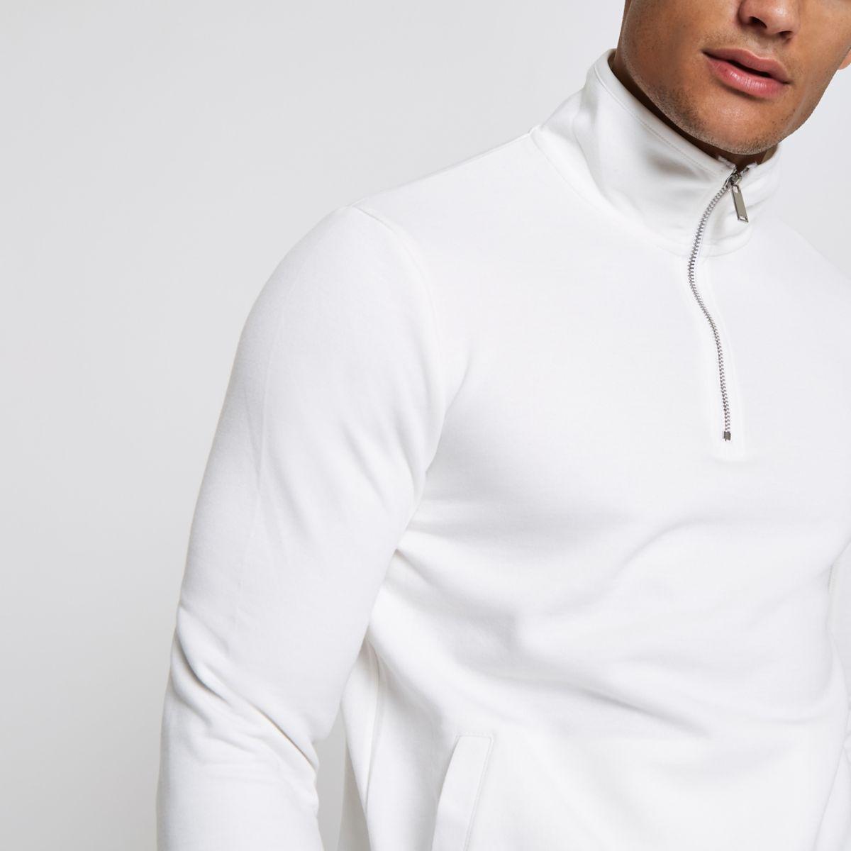 White zip-up funnel neck sweatshirt